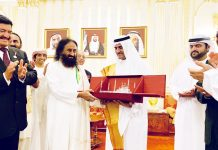 Indian spiritual leader Sri Sri Ravi Shankar held a meditation programme at a football stadium in Fujairah on Friday.