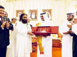 Indian spiritual leader Sri Sri Ravi Shankar held a meditation programme at a football stadium in Fujairah on Friday.