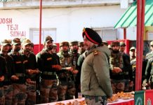 Northern Command chief Lt Gen Ranbir Singh during his visit to an Army formation in Kashmir on Thursday.