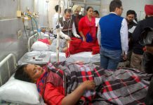 Injured of grenade attack in Amritsar being treated at a hospital on Sunday. (UNI)