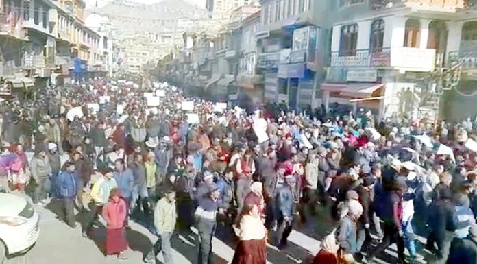 A massive rally taken out in Leh in support of UT demand on Monday. —Excelsior/Morup Stanzin