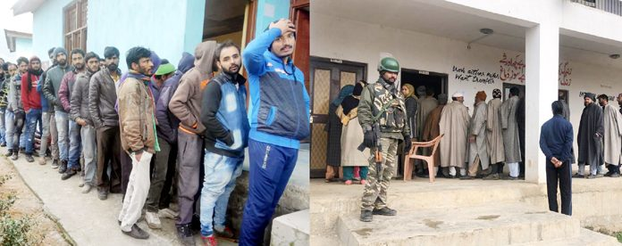 Voters wait for their turn to exercise their right to franchise (left) in Doda and (right) in Mattan, Anantnag on Thursday. —Excelsior pics by Rafi Choudhary and Sajad Dar