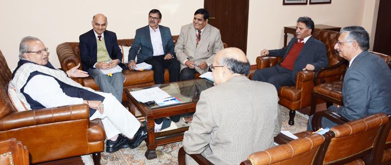 Governor Satya Pal Malik presiding over the SAC meeting in Jammu on Wednesday.