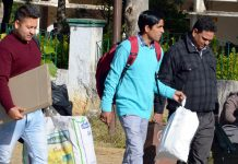 Polling staff leaves for far flung areas of Udhampur on Friday.