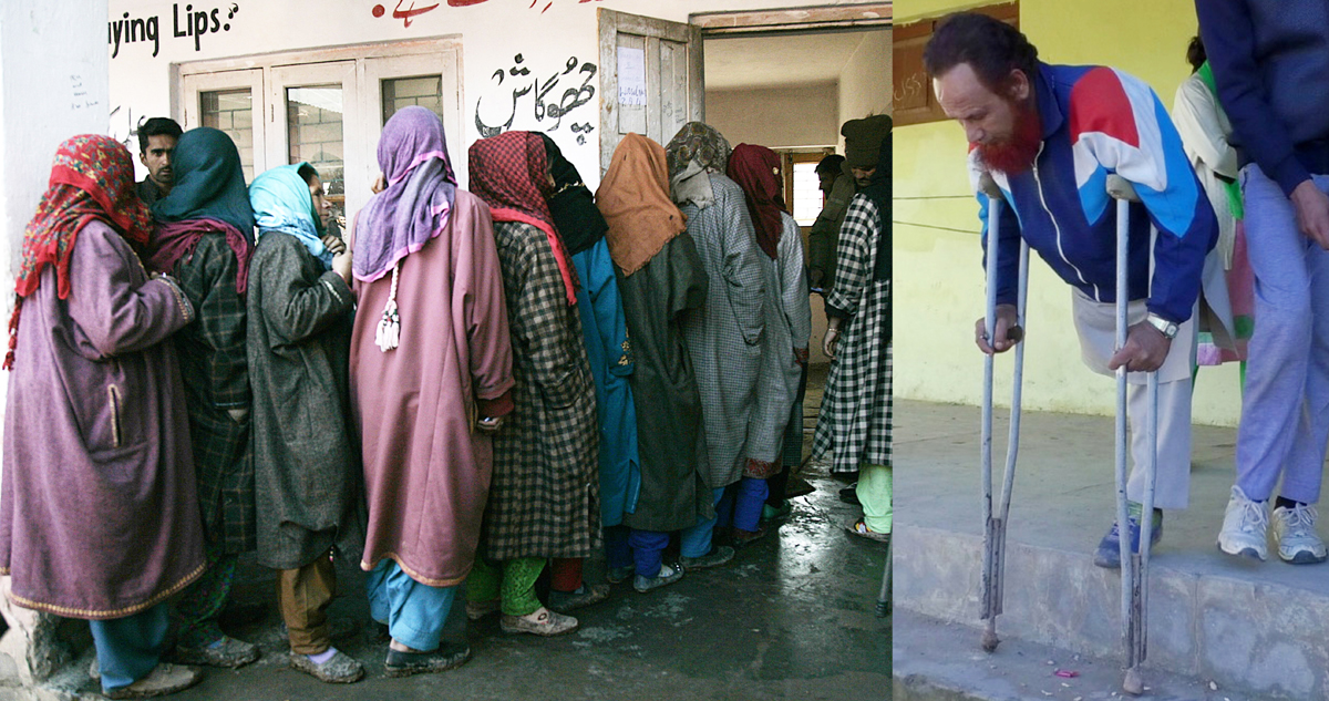 Women queue up outside a polling booth in Srinagar (left) and a handicapped voter turning out after casting his vote in Poonch (right) on Saturday. —Excelsior pics by Shakeel & Romesh Bali