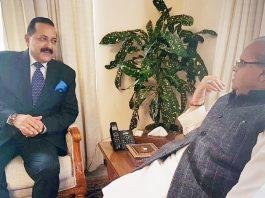 Union Minister Dr Jitendra Singh calling on Governor Satya Pal Malik at Raj Bhavan, Jammu on Sunday.