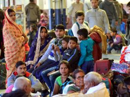 Passengers waiting at Jammu Railway Station as 5 trains remain cancelled on Sunday. —Excelsior/Rakesh