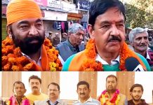 BJP candidates after victory in Udhampur, Ramnagar and Chenani MCs in Udhampur district on Monday. -Excelsior/Pawan