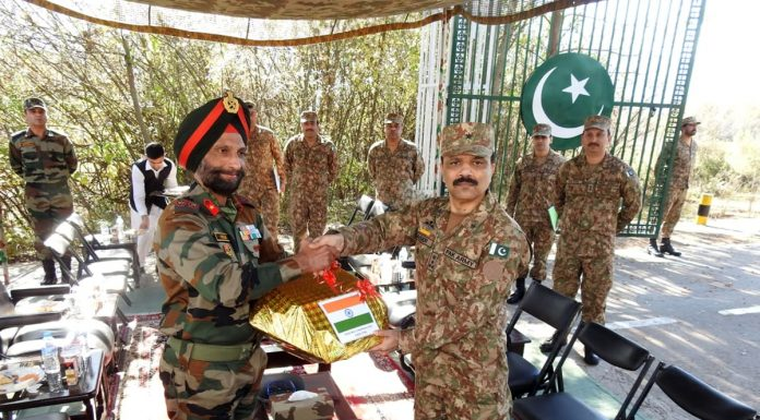 Indo-Pak Army officials during a meeting at Chakan-Da-Bagh in Poonch on Friday. -Excelsior/Harbhajan