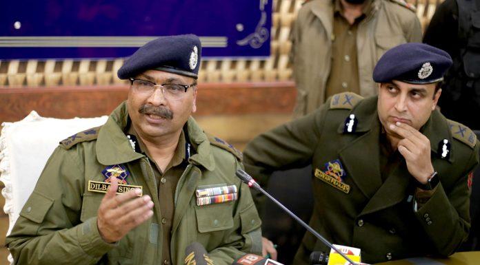 DGP Dilbag Singh addressing a press conference at PCR Srinagar on Wednesday. -Excelsior/Shakeel