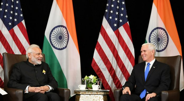 Prime Minister Narendra Modi meeting Vice Prsident of USA, Michael R. Pence, on the sidelines of East Asia Summit, in Singapore on Wednesday.