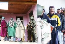 Long queues of voters in Kashmir (left) and Rajouri (right) on Tuesday. -Excelsior pics by Shakeel & Gafoor Bhat