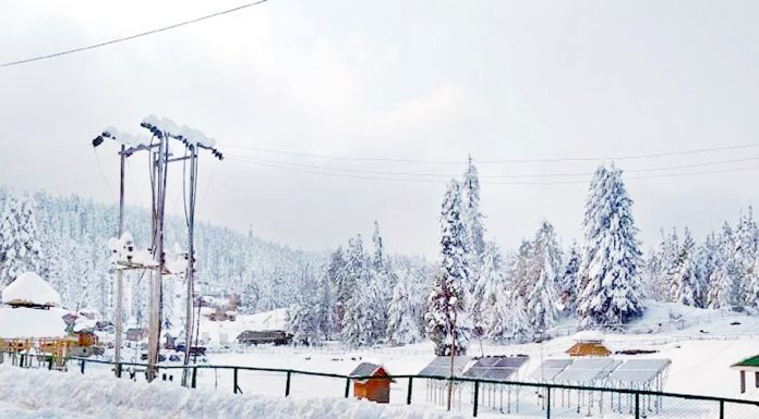 A view of heavy snowfall in Gulmarg. -Excelsior/Aabid Nabi