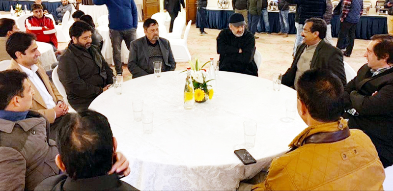 BJP national general secretary Ram Madhav with PDP Legislators, Sajjad Lone and Junaid Mattu among others in Srinagar on Thursday.