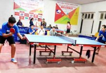 Players in action on Day-2 of Jammu District Table Tennis Championship at MA Stadium Jammu on Sunday.