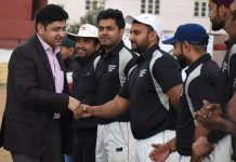 A dignitary interacting with players before inauguration of match during 7th Eid-Diwali Milan Cricket Cup.