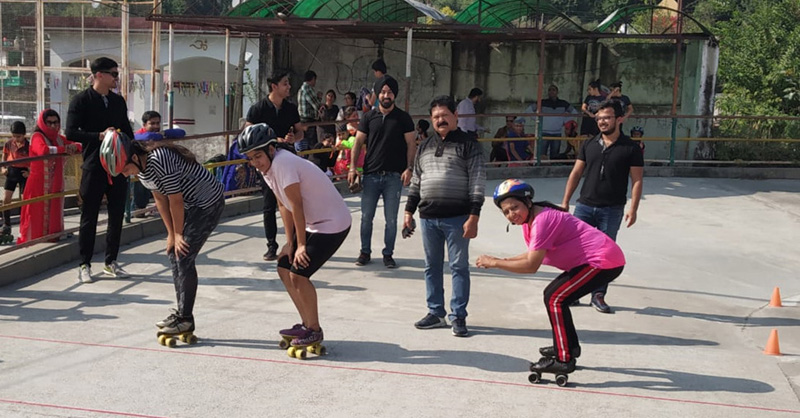Players in action during State Roller Skating Championship.