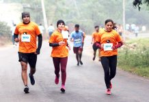 Runners during marathon in District Samba.