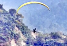 A paragliding trial being conducted near village Tanwa in Reasi district.