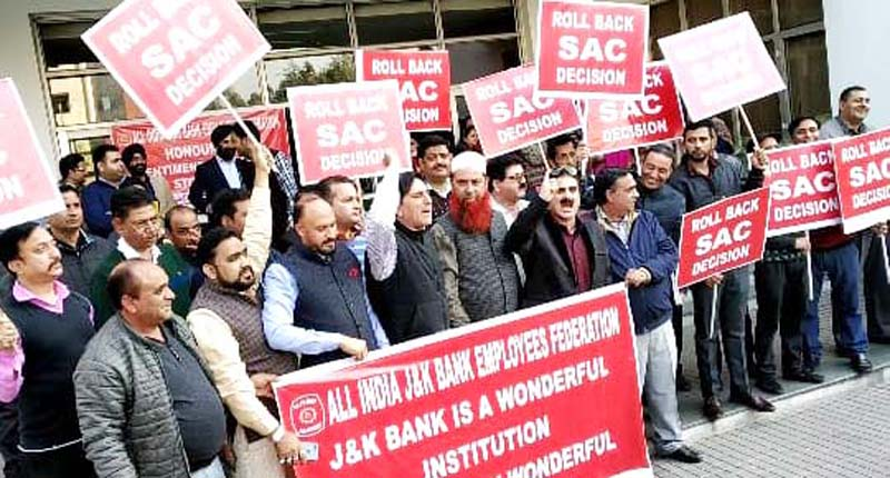 J&K Bank employees during a protest demonstration at Jammu on Friday.