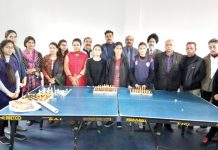 Players during inauguration of Inter Collegiate Chess Tournament at Jammu on Wednesday.