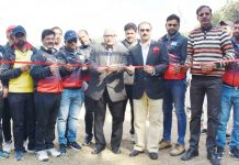 Ex-MLC Vijay Bakaya inaugurating 'Talent Hunt' trials at Jammu on Monday.