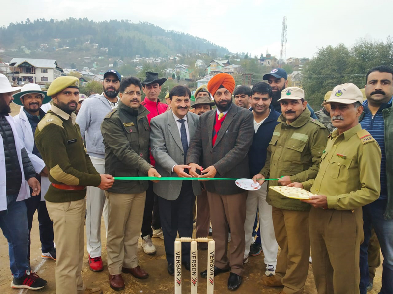 Conservator of Forest Chenab Circle TB Singh inaugurating Chenab Circle Inter-Division T-20 Cricket Tourney at Bhadarwah on Wednesday. -Excelsior/ Tilak Raj