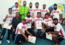 BSNL Kabaddi team players posing for group photograph.