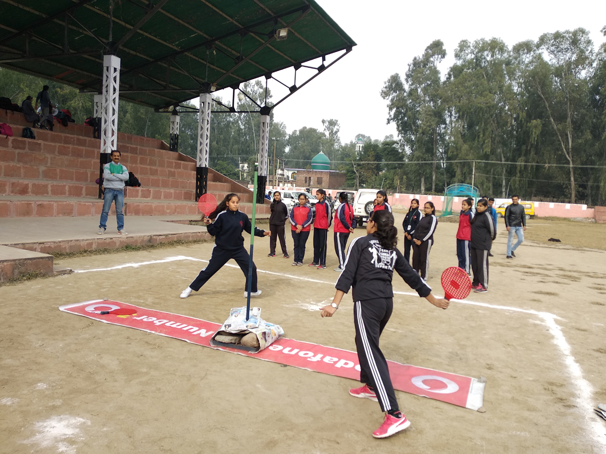 Players in action during Inter Division State Level Speedball Tournament at sports stadium, Kathua.