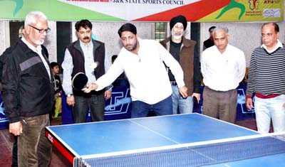 Dignitaries during inauguration of Jammu District Table Tennis Championship at indoor complex, MA Stadium Jammu on Saturday. -Excelsior/Rakesh
