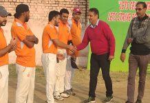 Former Ranji player Vidhya Bhaskar interacting with players at Parade ground Jammu on Wednesday. Rajesh Gill, Organizing Secretary is also seen in the picture.