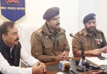 SP Kathua Shridhar Patil during meeting of 8th Police Martyr's Memorial North Zone Cricket Championship.