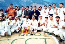 Winner team and dignitaries posing for group photograph at Bhadarwah on Saturday. (Excelsior/Tilak Raj)
