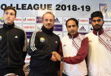 Coaches and Captains of Mohun Bagan and Real Kashmir teams during media interaction at Srinagar. —Excelsior/Shakeel