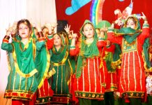 Children presenting cultural item during Annual Day celebrations.