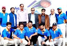 Participating team players and dignitaries posing for group photograph at Parade Ground Jammu on Saturday.
