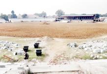 Work in progress at MA Stadium Jammu.
