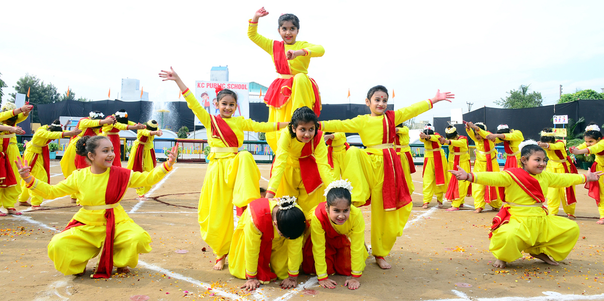 Students presenting cultural item during Nimble Feet Fitness Fest at KC Public School Jammu on Thursday.