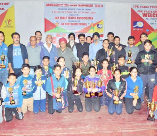 Winners of Jammu District Table Tennis Championship and dignitaries posing for group photograph.