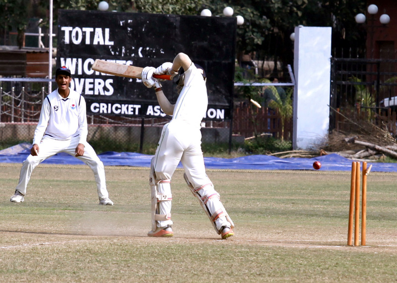 A batsman being clean bowled during a match at GGM Science College Ground on Wednesday. -Excelsior/Rakesh