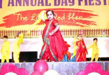 Kids presenting a dance performance during annual day function of MMI Pre School, Jammu. -Excelsior/Rakesh