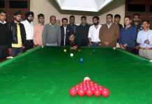 Dignitaries during inauguration of 26th J&K State Billiards & Snooker Championship at Billiards Hall MA Stadium, Jammu on Tuesday. — Excelsior/Rakesh