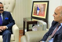 Advisor to J&K Governor, K.K. Sharma calling on Union Minister Dr Jitendra Singh, at New Delhi.