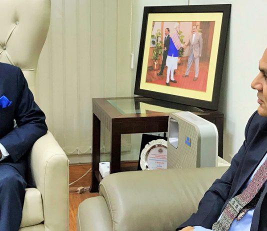 Advisor to J&K Governor, K.K. Sharma calling on Union Minister Dr Jitendra Singh, at New Delhi.