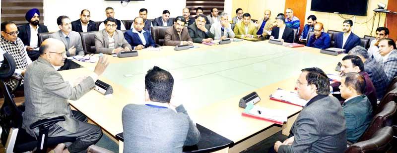Chief Secretary BVR Subrahmanyam chairing a meeting in Jammu on Monday.