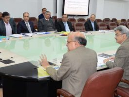 Governor Satya Pal Malik chairing a meeting in Jammu on Wednesday.