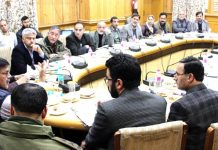 Advisor to Governor K Vijay Kumar chairing a meeting in Srinagar on Tuesday.