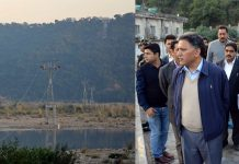 Advisor Khurshid Ganai inspecting Jammu Ropeway Project on Saturday.