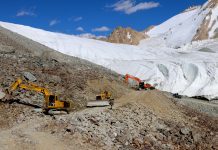 World's first glaciated road constructed at 17860 ft height in Ladakh by Project Himank. — Excelsior/Shakeel