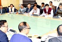 Advisor K Vijay Kumar and Chief Secretary BVR Subrahmanyam jointly chairing a meeting on Monday.